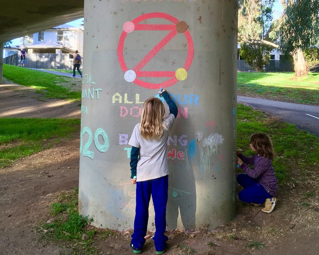 Children Chalking pillar