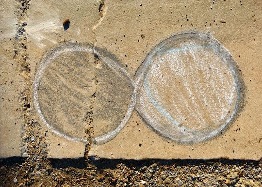 Example: Infinity DOTS writtenl in chalk on cement