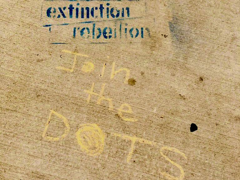 Example: 'Extinction rebellion' with chalk dots