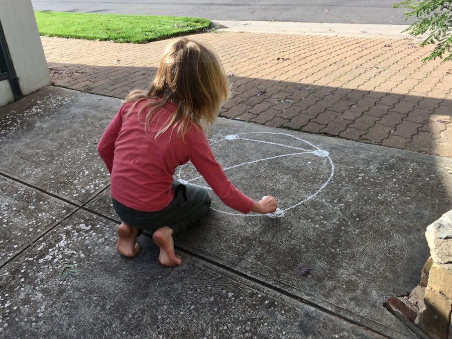 Example: Child chalking dotZero in driveway