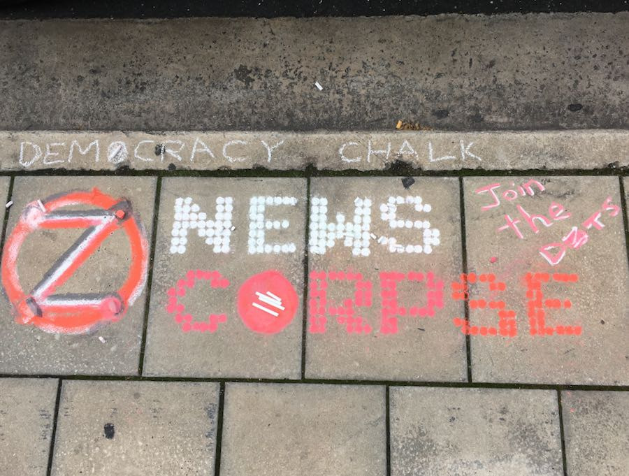 """Example: """"News Corpe' in Chalk"""